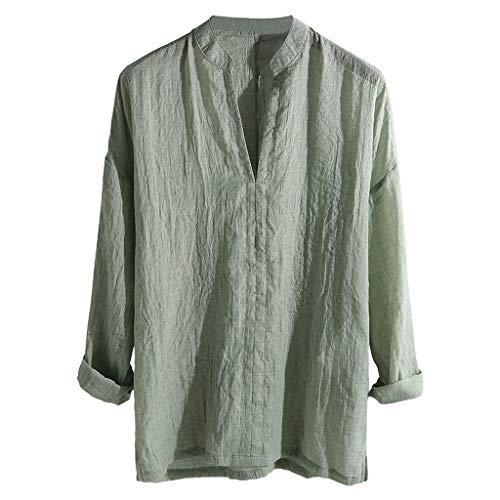 Makefortune Herren Leinen T-Shirt Freizeithemden Einfarbig V-Ausschnitt 3/4 Ärmel Lose Kragenlose Oberteile Bluse (Von Polo-shirts Ralph Lauren Pack)
