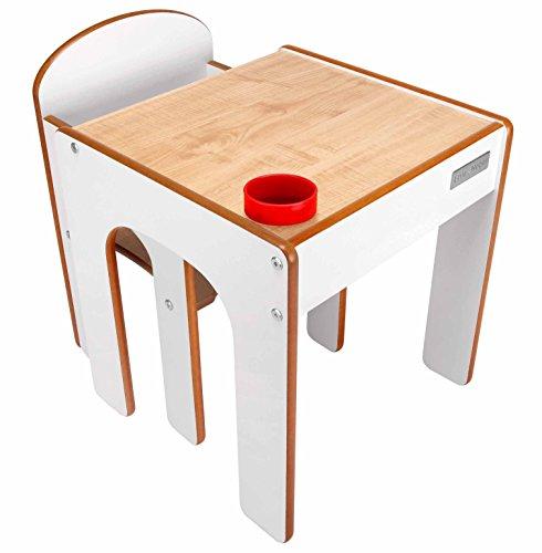 Little Helper en semble Bureau et Chaise en Bois pour Enfants avec Pot à Crayons/Pinceaux Funstation de Little Helper Blanc