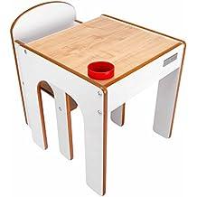 Little Helper - Juego de escritorio y silla para niño (con boté para lápices), color blanco
