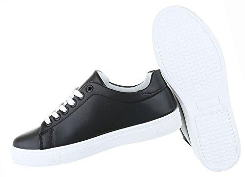 Freizeitschuhe Sneakers Sportschuhe Damen Schuhe Schwarz Turnschuhe 4vwSTz
