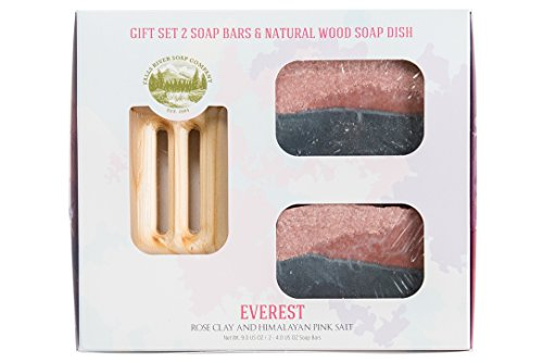 Himalayan Pink Salt Bar Soap Bar with Rose (Everest) - Handmade Organic with Essential Oils. Natural Moisturizing Body Soap for Skin and Face. With Shea Butter, Coconut Oil