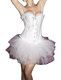 Dissa® blanc col V strass Corset Bustier avec jupe