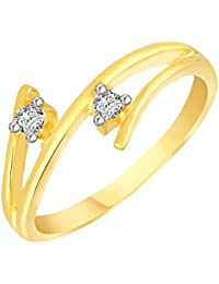 VK Jewels Delight Two Stone Gold and Rhodium Plated Alloy CZ American Diamond Ring for Women [VKFR2769G]