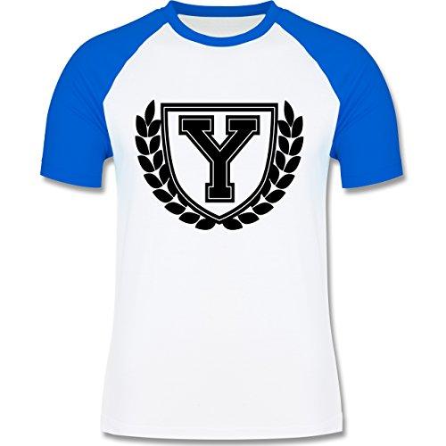 Anfangsbuchstaben - Y Collegestyle - zweifarbiges Baseballshirt für Männer  Weiß/Royalblau