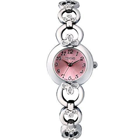 Time100 rundes Zifferblatt Damenuhr Edelstahl Armbanduhr mit Hakenschloss Quarz Analog Pink #W50053L.03A
