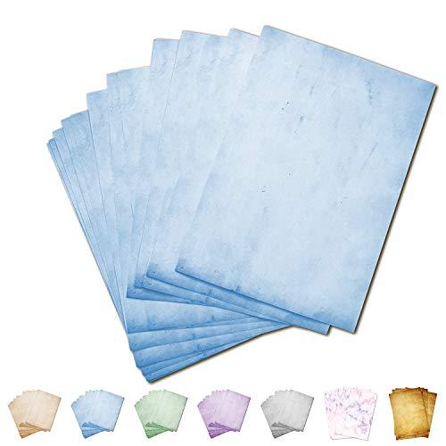 Partycards Papel de Escribir | 50 Hojas |Azul|Formato DIN A4 (21,0 x 29,7 cm)|Gramaje 90 g/m² |impresión a Doble Cara, Adecuada para Todas Las impresoras