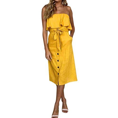 MOIKA Damen Kleid, New Frauen-Knopf-weg Schulter-Bardot-Kleid-Damen-Sommer-Rüsche umgeschnallter Rüschen-Kleid(L,Gelb) (Kleidung Hundegeschirr)