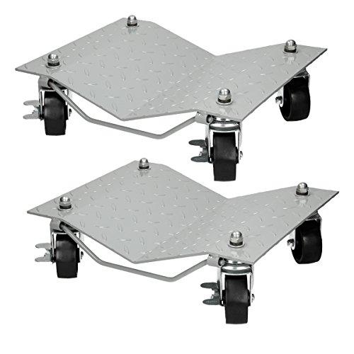 Preisvergleich Produktbild ECD Germany 2 Stück Rangierhilfe aus Stahl Tragkraft 680 kg Rangierroller Rangierheber Wagenheber Roller Transporthilfe für PKW Auto