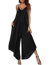 Sunenjoy Femme Combishort Bretelles Été Rayures Jumpsuit Combinaisons  Grande Taille Bodysuit sans Manches Loose Casual Large Ample Harem… 202a4da2d6d