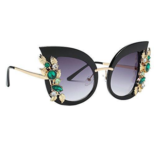 Prettyia Damen Klassiker Katzenauge Übergroße Sonnenbrille mit Metallrahmen für Partz Strand Freizeit Deko - Schwarzes Rahmen-Grau-Objektiv