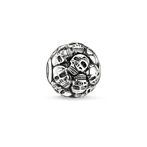Thomas Sabo Damen Herren-Bead Totenkopf Karma Beads 925 Sterling Silber geschwärzt K0062-001-12