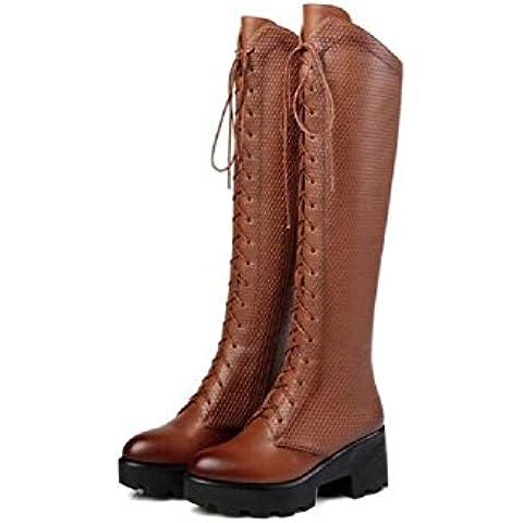 YYH Zapatos de tacón de plataforma retro encaje grueso muslo botas altas mujer alto sobre las botas de rodilla . brown .