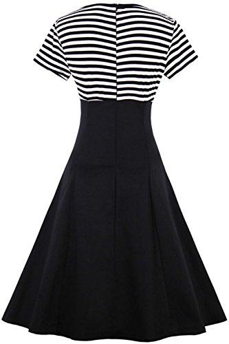 Babyonlinedress Robe Vintage année 1950 Rockabilly Swing Grande Taille jointif à rayures Cocktail Soirée Noir