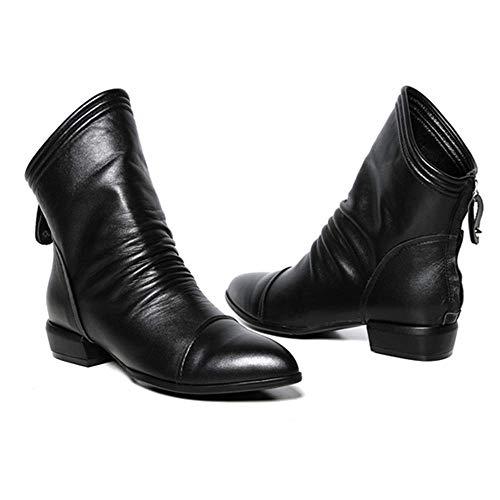 Tatis Shoes Solide PU-Plissee-Stiefeletten mit Niedrigerem Absatz Women Fashion Solid Rüschen Zip...