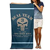 XIEXING Lightweight,Quickly Absorbs Moisture for a Cozy Feel Beach Towel Chris Kyle Seal Team Frog Foundation Bath Towels Beach Towel