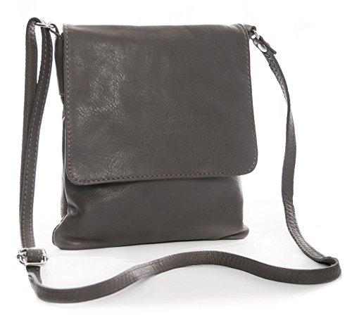 Big Handbag Shop Sac à main en cuir véritable souple pour Mini sac bandoulière - Marron - Taupish Grey,