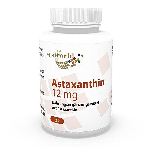 Astaxantina 12mg 60 Capsule 100% naturale de Haematococcus pluvialis alghe Vita World Produzione in farmacia in Germania Antiossidanti
