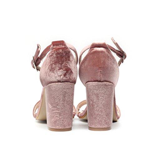 Em Confortáveis Bloco Respirável Simplesmente verão Vendas Femininas Topaktuell No Incluindo Elegantes Sapatos toe Rosa Peep As Tornozelo Sandálias Tira 1fzZwq