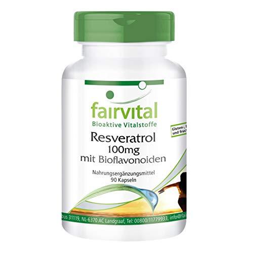 Resveratrol 100mg Kapseln mit Bioflavonoiden - VEGAN - 90 Kapseln - mit Rutin, OPC und Quercetin