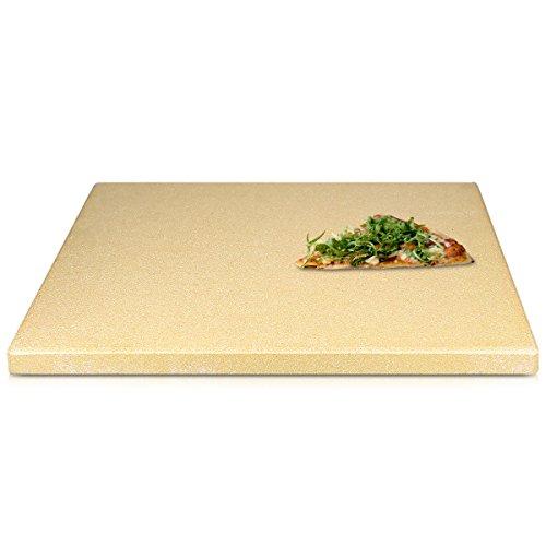 Navaris Pizzastein XXL für Backofen Grill aus Cordierit - Pizza Stein groß für Ofen Brot Backen Flammkuchen Gasgrill Herd Steinplatte eckig 45x35cm (Herd, Dem Auf Grill)