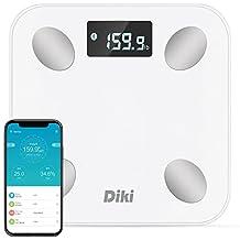 Báscula de Baño Digital DIKI Escala Inteligente con APP para IOS y Android, Báscula Grasa Corporal Bluetooth, Tecnología Step-on, Ultra-Accurate, 14 Datos Corporals y Plataforma Antideslizante