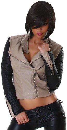 Jela London Damen Jacke in Leder-Optik, beige schwarz Größe 34 36