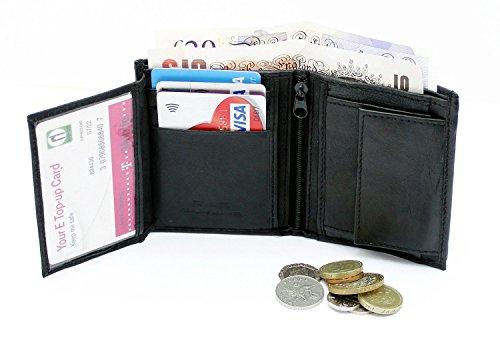 RAS® Herren-Qualität Luxus Weiches Leder Zweifache Brieftasche Kreditkarten-Taschen, ID-Karte Fenstertasche Und Münztasche #48 (Schwarz) Schwarz