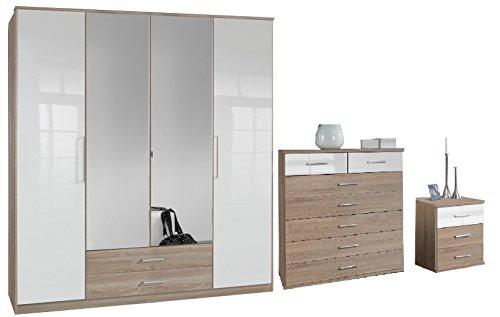 Ensemble de meubles de chambre à coucher – Chêne et laqué blanc – 4 portes avec 2 miroirs – 2 tiroirs – Table de chevet Commode Armoire – 5 + 2 tiroirs – Qualité fabriqué en Allemagne – à monter soi-même
