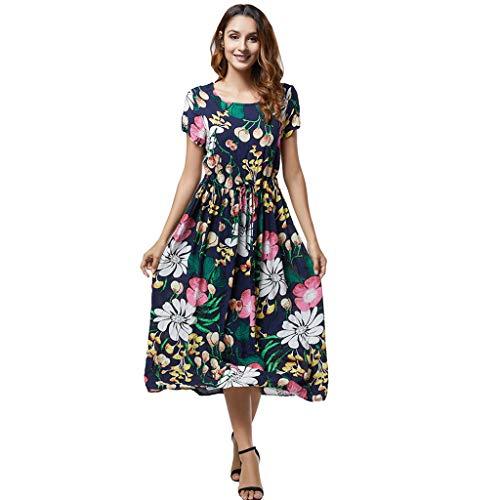 NseyuE Frauen Damen Skirt, Print Sommer Bohemian Kurzarm Kleid (Marine, XXXXL)
