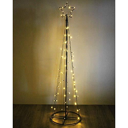 Beleuchteter Kegel mit Stern, 140 LED, Höhe 240cm, Schwarz, Innen und Außen, Weihnachtsbeleuchtung Weihnachtsdekoration