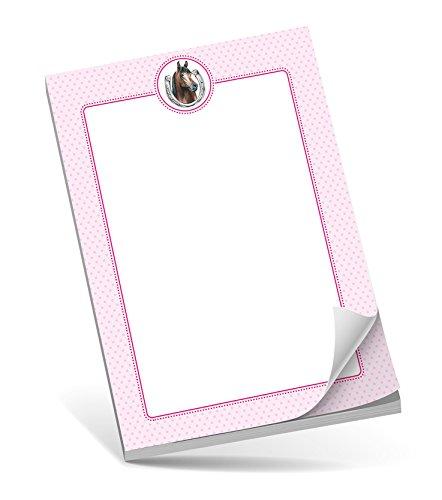 Schreibblock A5 PFERD ROSA • 50 Blatt unliniert DIN A5 (148,5x210 mm) Notizblock / Block / für Schulkinder / für Schlaufüchse / Malblock