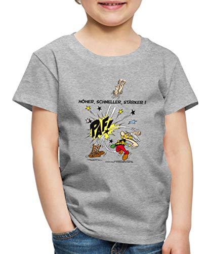 Spreadshirt Asterix und Obelix Krieger Spruch Höher Schneller Stärker Kinder Premium T-Shirt, 98/104 (2 Jahre), Grau meliert