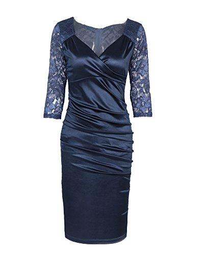 Femme 3 / 4 de Manche Vintage Decontracte Robe Marine Bleu