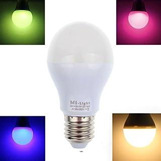 Atdoshop E27 AC 86V-265V 9W 2.4GHz RGB Warm LED Light Mi light RF WIFI Control Bulb White