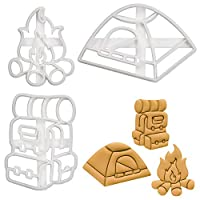 Set of 3 Camping Cookie Cutters (Designs: Backpack, Tent, Bonfire), 3 Pieces - Bakerlogy