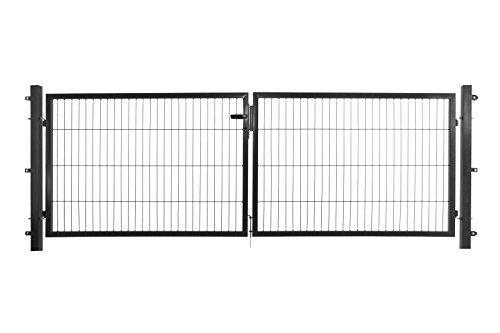 Doppelflügeltor in anthrazit, 300 x 100 cm (B x H) für Stabmattenzäune inkl. Befestigungsmaterial