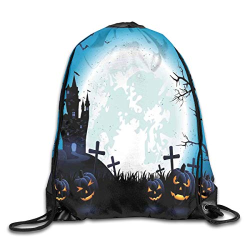 EELKKO Drawstring Backpack Gym Bags Storage Backpack, Spooky Concept with Scary Icons Old Celtic Harvest Figures In Dark Image,Deluxe Bundle Backpack Outdoor Sports Portable Daypack -