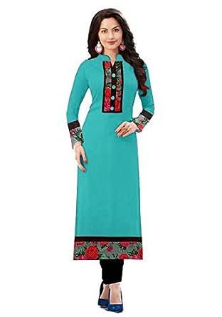 Morpich Fashion Women's Cotton Semi-stitched Salwar Suit (1002FIROZI_Multicolored_Free Size).