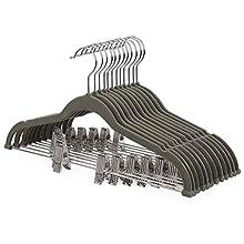 SONGMICS 12 Pack Pants Hangers, Adjustable Clips for Different Sizes 42.5 cm, Trouser Hangers for Heavy Duty, Non-slip, durable, Velvet Coat Skirt Hangers with Trouser Bar, Space Saving, Grey CRF12V