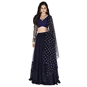 Amaira Navy Blue Embroidered Lehenga Set In Raw Silk and net