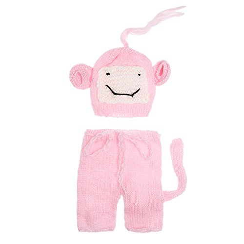 eborene Baby Cute Crochet Knit Lange Hose + Hut Foto Requisiten Outfits (Cute Baby Monkey Kostüme)
