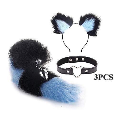 rgfhtyrgyh Black Blue Cat Ears Stirnband Furry Fox Tail, Verstellbarer Kragenhals B-ütt und Pl-ùg T-ö-ys Set für Rollenspiel Kostüm - Black Fox Kostüm