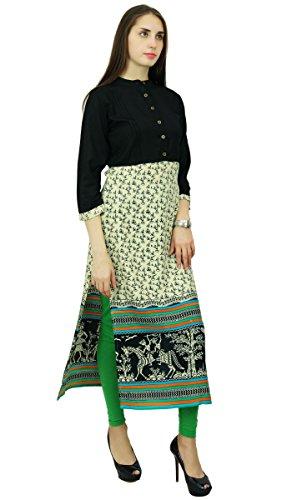 Phagun Rayon Stammes Kurta Ethnischen Bollywood Designer Top Tunika-Kleid Kurti Schwarz und Beige