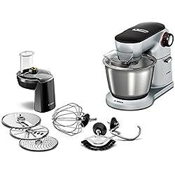 Bosch Optimum MUM9D33S11 Küchenmaschine (1300 Watt, edelstahl-Rührschüssel, 3D Rührsystem, 7 Schaltstufen) platinum silber