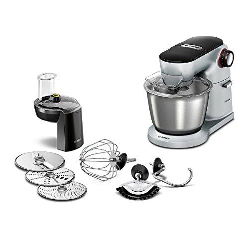 Bosch MUM9D33S11 OptiMUM Küchenmaschine (1300 W, 3 Profi-Rührwerkzeuge Edelstahl, spülmaschinenfest, Durchlaufschnitzler 3 Scheiben, Rührschüssel 5, 5 Liter, Teigmenge 3,5kg) silber