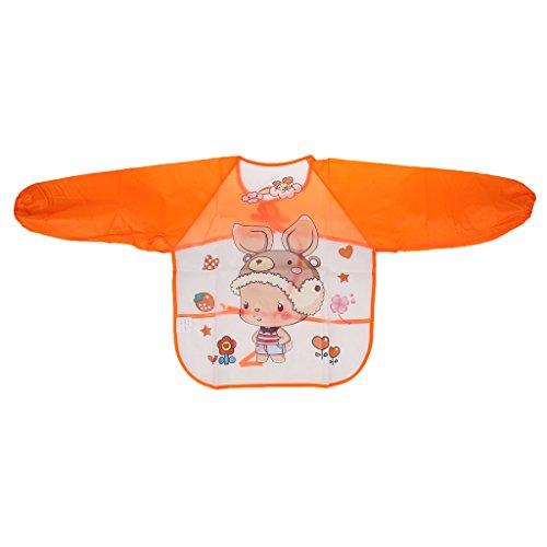 Sharplace Kinder Schürze Langarm Schutzblechzeichnung Anstrich Wasserdichter Kittel - Orange (Langarm Zeichnung)