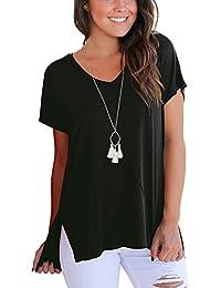 DRESHOW Camiseta manga corta alta baja para mujer Camiseta básica básica con abertura lateral