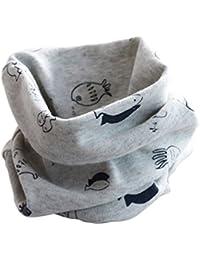 Bufanda Bebe,TININNA Otoño Invierno Bufanda para Niños Niñas Unisex , Collar Bebé Algodón O Anillo Cuello Bufandas para el niño 1-6 años;Pescado Gris