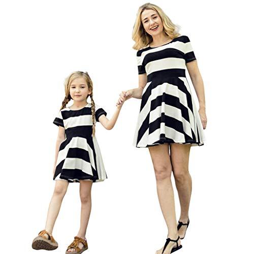 Lucky Mall Eltern-Kind-Kleidung! Mädchen Mutter Retro Gestreiftes Kurzarm A-Linien Kleid, Sommer Rundhals Kleid Mode Familienkleidung Damen Minikleid Kinder Strandrock Tanzrock Festkleid