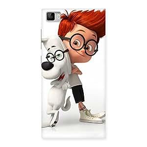 Stylish Boy and Spec Dog Multicolor Back Case Cover for Xiaomi Mi3